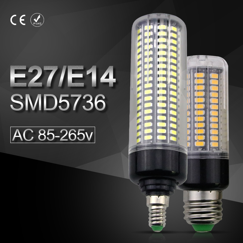 Aluminum LED Corn Lamp E27 SMD5736 28 40 72 108 132 156 189leds AC85-265V E14 No Flicker Indoor Livingroom Energy saving lights