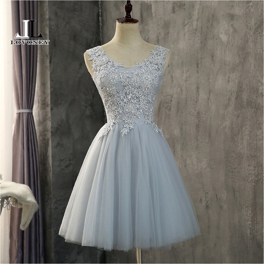LOVONEY CH609 Beading Short   Prom     Dresses   2018 Elegant A Line O Neck Tulle Formal   Dress   Women Occasion Party   Dresses     Prom   Gown