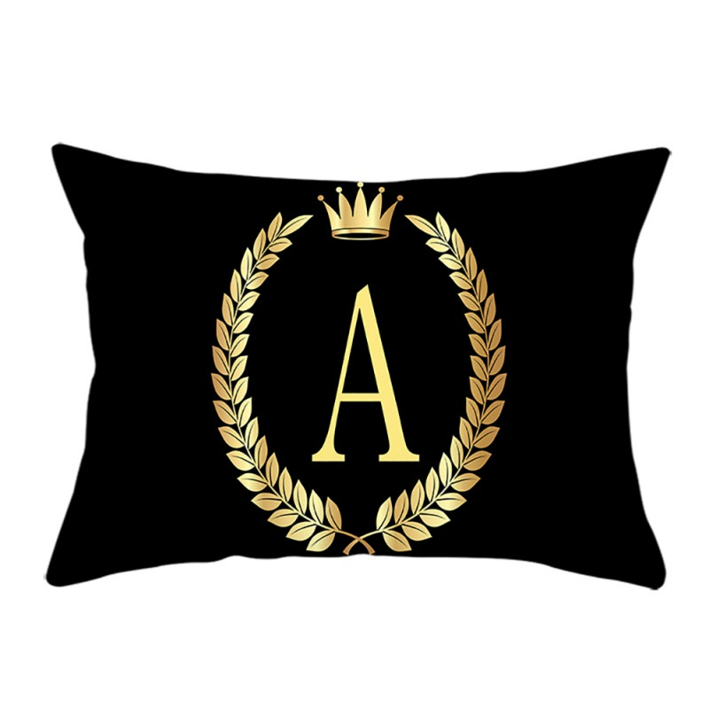 Fashion Pillow Case Black Rectangular Crown A To I Letters Pillow Case Soft Peach Velvet Decorative Pillowcase For Home