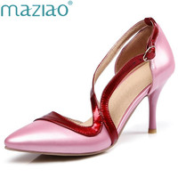MAZIAO Pink Palms Summer Autumn Shoes Women High Heels Pumps Pointed Toe Party Wedding Dress Pumps