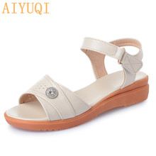 AIYUQI Women sandals genuine leather 2019 new summer sandals  for women flat casual large size 41  42 43 mother sandals shoes muyang mie mie women sandals 2018 new summer shoes woman genuine leather flat sandals fashion casual sandals women