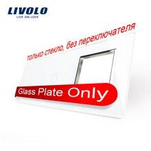 Envío Libre, livolo blanco perla de cristal, 223mm * 80mm, estándar de LA UE, 2 Bandas y 1 Panel de Vidrio Del Marco, VL-C7-C1/C1/SR-11