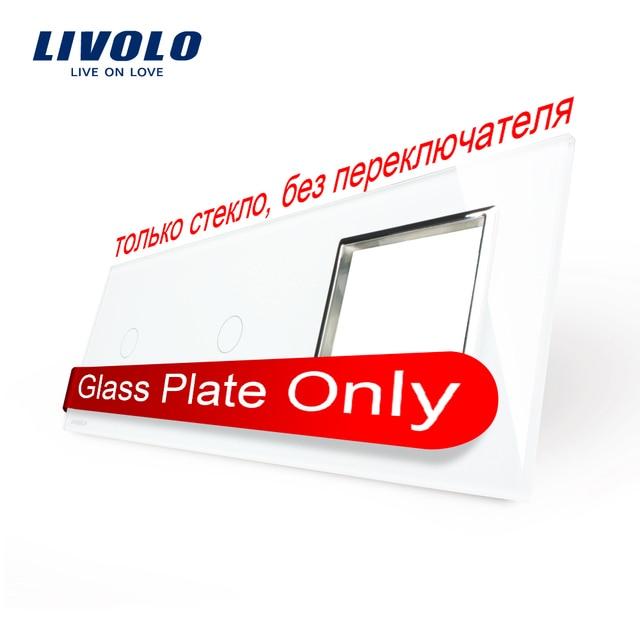 Free Shipping, Livolo White  Pearl Crystal Glass, 223mm*80mm, EU standard, 2Gang &1 Frame Glass Panel, VL-C7-C1/C1/SR-11