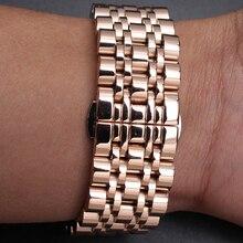 12 mm 14 mm 16 mm 18 m 20 mm 22 mm 24 mm alta calidad correa de accesorios Rosegold relojes nuevas correas pulsera de metal de acero inoxidable