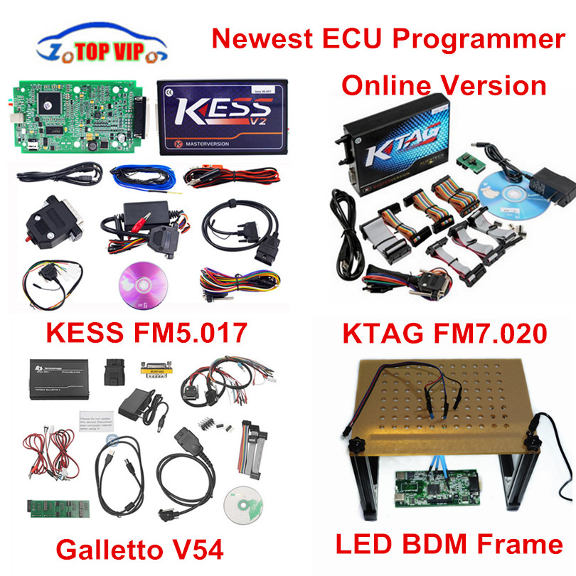 Online EU Chip Tool Newest KESS V5.017 Ktag V7.020 V2.23 No Tokens Limit Master + Galletto V54 + Newest LED BDM Frame Full Set 2017 online ktag v7 020 kess v2 v5 017 v2 23 no token limit k tag 7 020 7020 chip tuning kess 5 017 k tag ecu programming tool