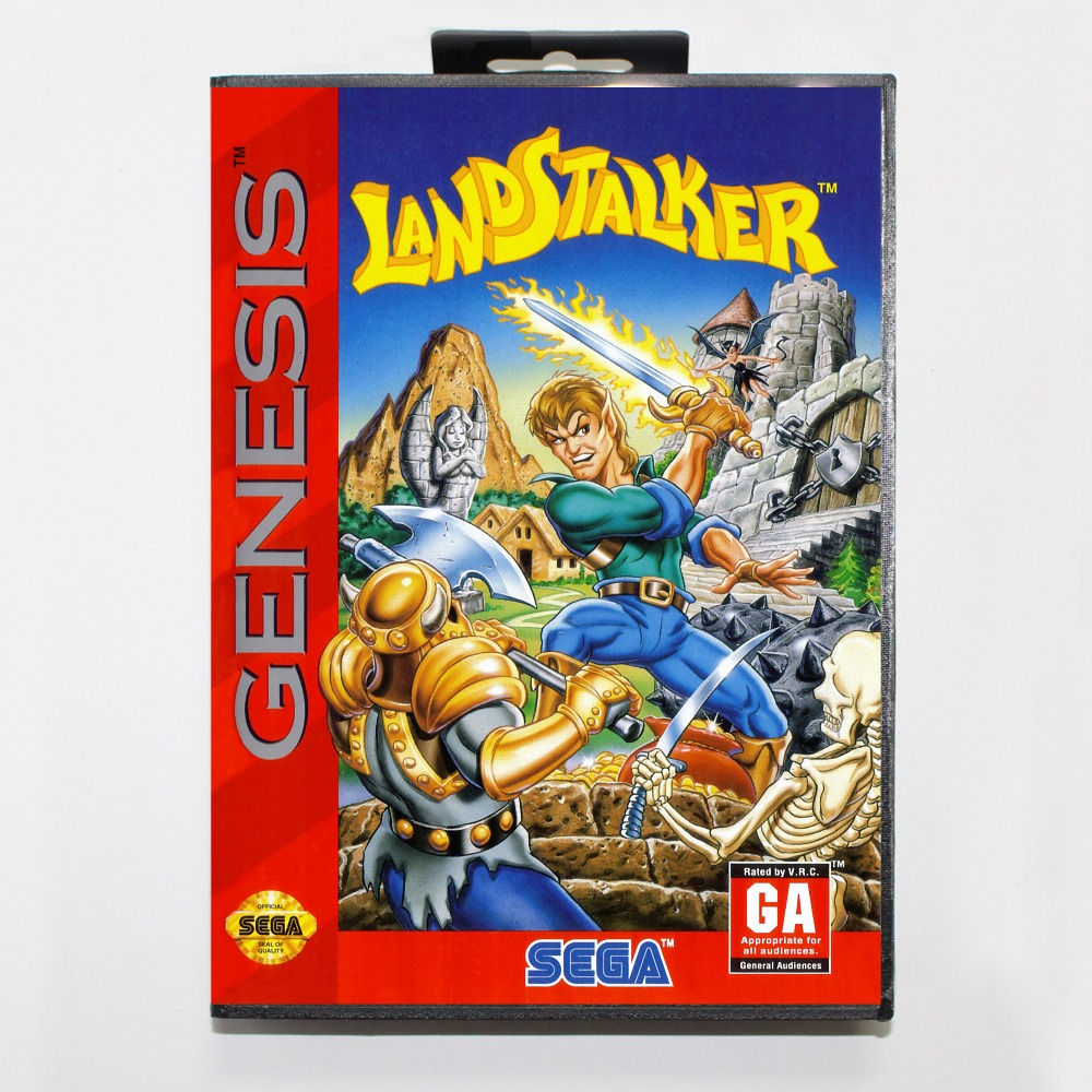 New 16 bit MD game card - landstalker with Retail box For Sega genesis system