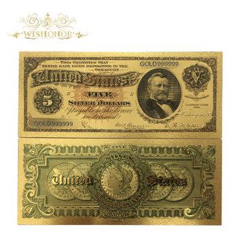 10 шт./лот 1886s американские Золотые банкноты $5 банкноты в 24k позолоченные бумажные деньги для коллекционирования