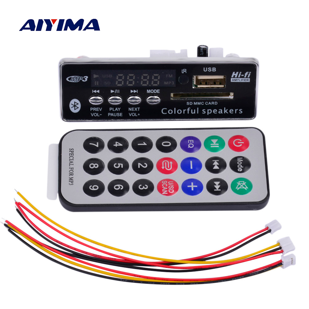 AIYIMA Bluetooth MP3 Decoder Board Audio Module WMA WAV USB SD Decoding FM Aux Radio For Car Accessories Diy