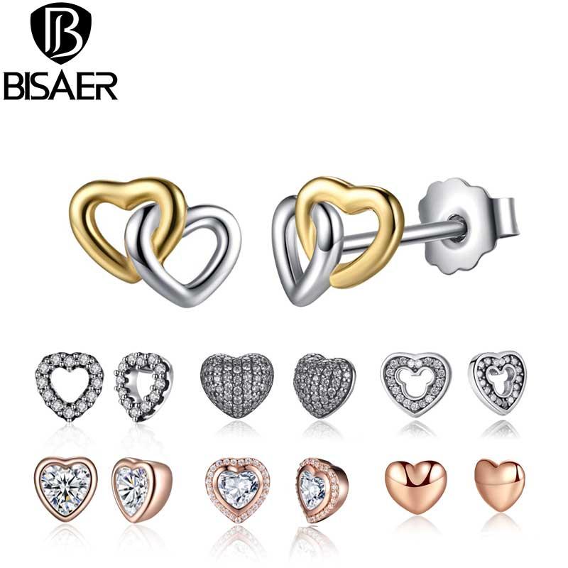 24 Styles 925 Sterling Silver Bowknot Heart Cat Stud Earrings For Women Fashion Small Round Earrings Jewelry Brincos Bijoux Gift