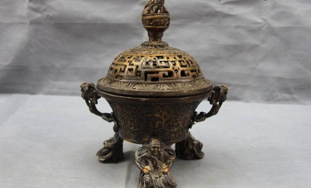 11 Chinese Buddhism Copper Bronze Three Heavenly Kings God incense burner Censer11 Chinese Buddhism Copper Bronze Three Heavenly Kings God incense burner Censer