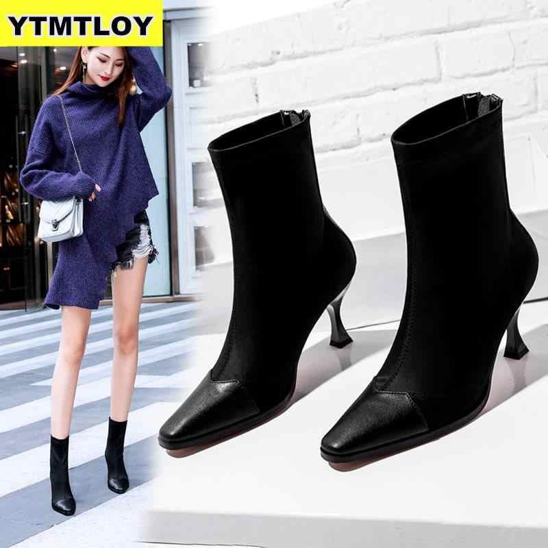 Кожаные эластичные тканевые носки; ботинки с квадратным носком; стильные женские ботильоны смешанных цветов на каблуке; коллекция 2019 года; бежевые зимние ботинки на высоком каблуке