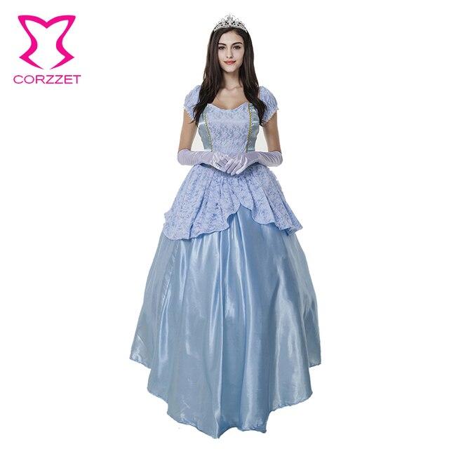Взрослые Карнавальные Костюмы Синий Королева Принцесса Косплей Одежда Плюс Размер Хэллоуин Костюмы Для Женщин Сексуальные Фантазии Платье С Короной