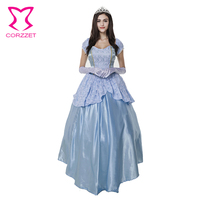 Adult Carnival Costumes Blue Queen Princess Cosplay Clothing Plus Size Halloween Costumes For Women Sexy Fancy Dress With Crown