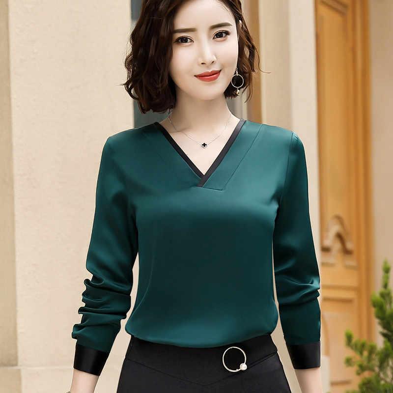 Новинка 2018, Темпераментная Женская рубашка с v-образным вырезом, высокое качество, шифоновая модная блуза с длинным рукавом, офисная, официальная, свободная, размера плюс, топы красного цвета