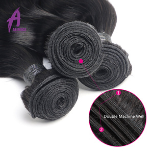 Image 5 - Alimice Body Wave Human Hair Bundles With Frontal Indian Hair Weave 3 Bundles With Closure 13*4  Preplucked Remy Hair Extensions