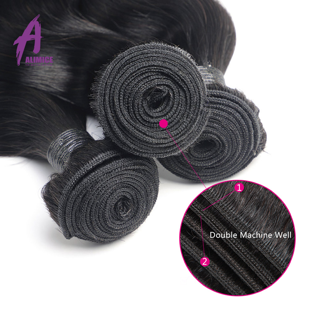 Image 5 - Alimice Indian Body Wave Human Hair Bundles With Frontal 13*4 Indian Hair Weave 3 Bundles With Frontal Preplucked Remy Hair-in 3/4 Bundles with Closure from Hair Extensions & Wigs