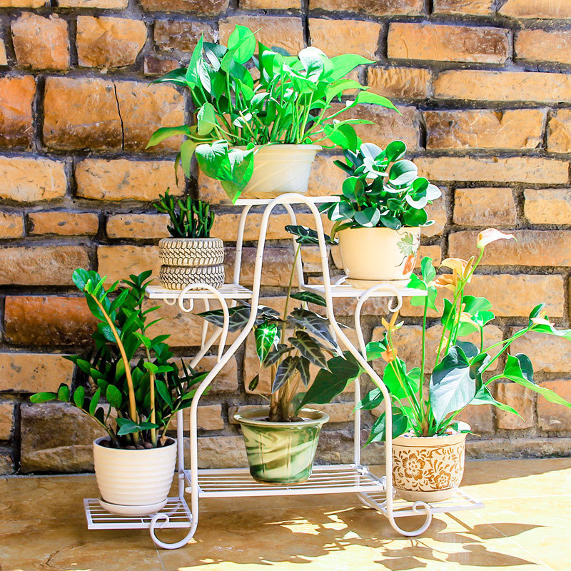 Decorer Outdoor Decor Decorative Metal Shelves Balcone Flower Shelf