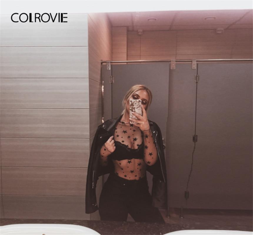 4dd4d5cee6 COLROVIE Transparent Star Pattern Mesh Bodysuit Women 2019 Spring Stand  Collar Long Sleeve Sexy Bodysuit Black Skinny Bodysuit-in Bodysuits from  Women's ...