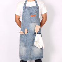 WEEYI Washable Shop Denim Apron With 3 Pockets Unisex Fits Small To XXL Vintage Blue Homewear