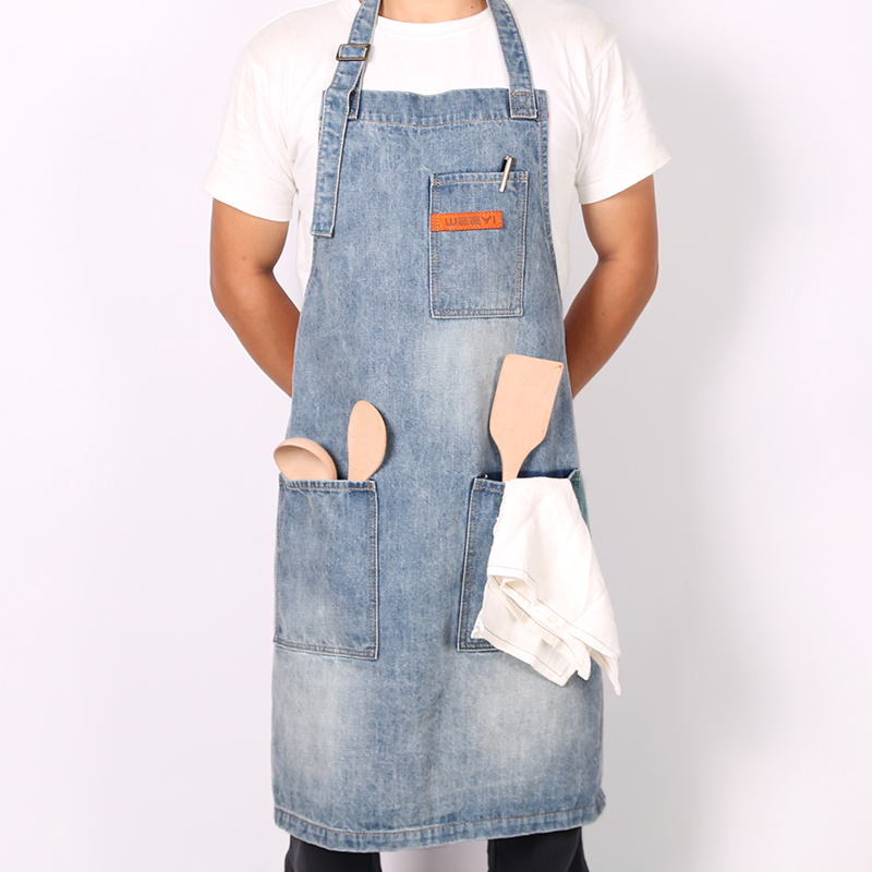 WEEYI Vintage Washable Shop Jeans Denim Apron with 3 Pockets Unisex Blue Homewear Workwe ...