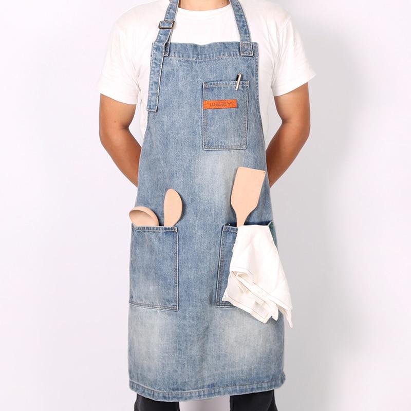 WEEYI vendimia lavable tienda Jeans Denim delantal con 3 bolsillos Unisex Homewear azul trabajo para panadero Chef camarero