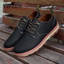 YWEEN Men's Casual Shoes Man Leather Worker Shoes Autumn New Round Head Shoes