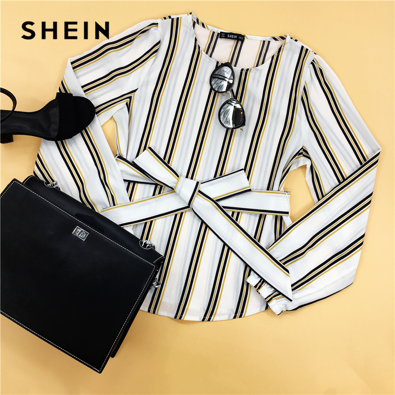 SHEIN White Office Lady Elegant Striped Print Scoop Neck Long Sleeve Blouse 2018 New Autumn Workwear