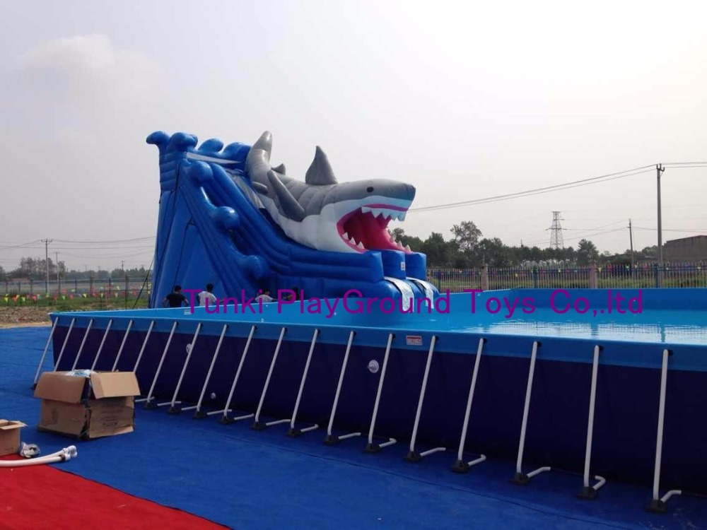 US $4800 0  Inflatable Water Slide Inflatable Pool Slide Inflatable Dolphin  House Water Slide-in Water Play Equipment from Sports & Entertainment on
