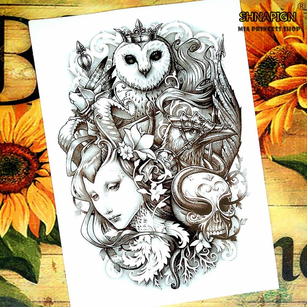 Belleza y la Bestia Tatuaje Temporal Body Art Tattoo Flash Stickers 12*20 cm Imp