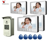 Yobang Security 7 Inches HD Doorbell Camera Video Intercom Door Phone System Security Camera Intercom Door Bell With 4 Monitor