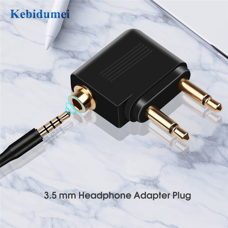 kebidumei 3.5mm Connector Plug Adaptor 3.5mm Jack Audio Headphone Converter Adapter For Airline Airplane Travel Earphone Headset