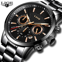 Mens Watches Top Brand Luxury LIGE Waterproof Military Sport Watch Stainless Steel Multi Function Quartz Clock