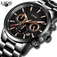 Mens Watches Top Brand Luxury LIGE Waterproof Military Sport Watch Stainless Steel Multi Function Quartz Clock