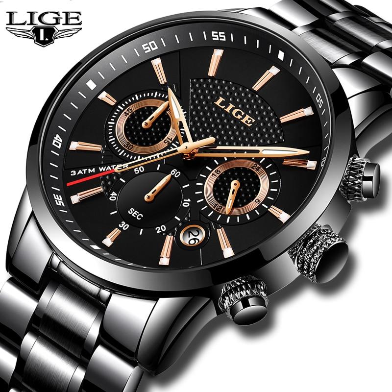 273beee8f34e Relojes de hombre Top marca de lujo LIGE impermeable Deporte Militar reloj  multifunción de acero inoxidable