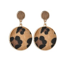 High Quality Hot Vintage Leopard Earrings for Women Gift Soft Fur Geometric Drop Fashion Party Jewelry drop ship