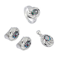 Eulonvan Rave reviews 925 sterling zilveren sieraden hart set (ring/oorbellen/hanger) SS -- 3731 set sz6 7 8 9 Regenboog Zirconia