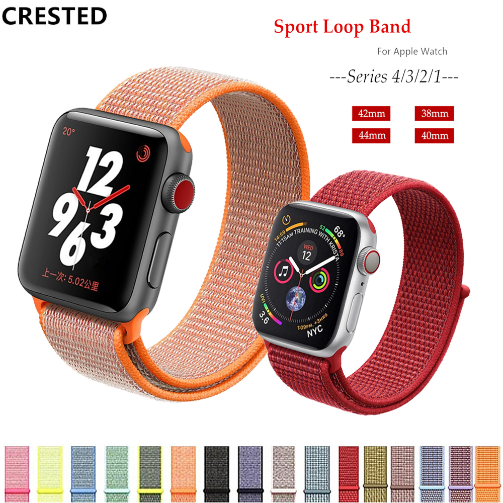 CRESTED Nylon apple watch strap For Apple Watch band 38mm 40mm iWatch 4 band 44mm correa apple watch 4 3 42mm bracelet watchband