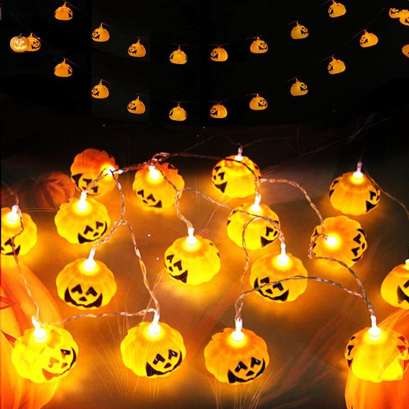 halloween pumpkin lantern 3d plastic skull string light 16 led ac220v or battery powered halloween - Halloween Pumpkin Lights