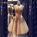 Melhor Venda de Ouro De Alta Pescoço Lace Curto Prom Dress Vestido De Festa Barato Elegante Festa Vestido de Mulher Elegante 2015 Hot venda
