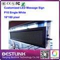 P10 ao ar livre levou sinal único branco 16 * 160 pixel placa do sinal mensagem levou correndo texto publicidade com display led módulo de tela