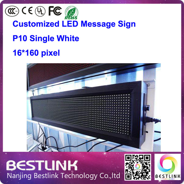 p10 outdoor led sign single white 16*160 pixel led message sign board running text advertising with led display screen module