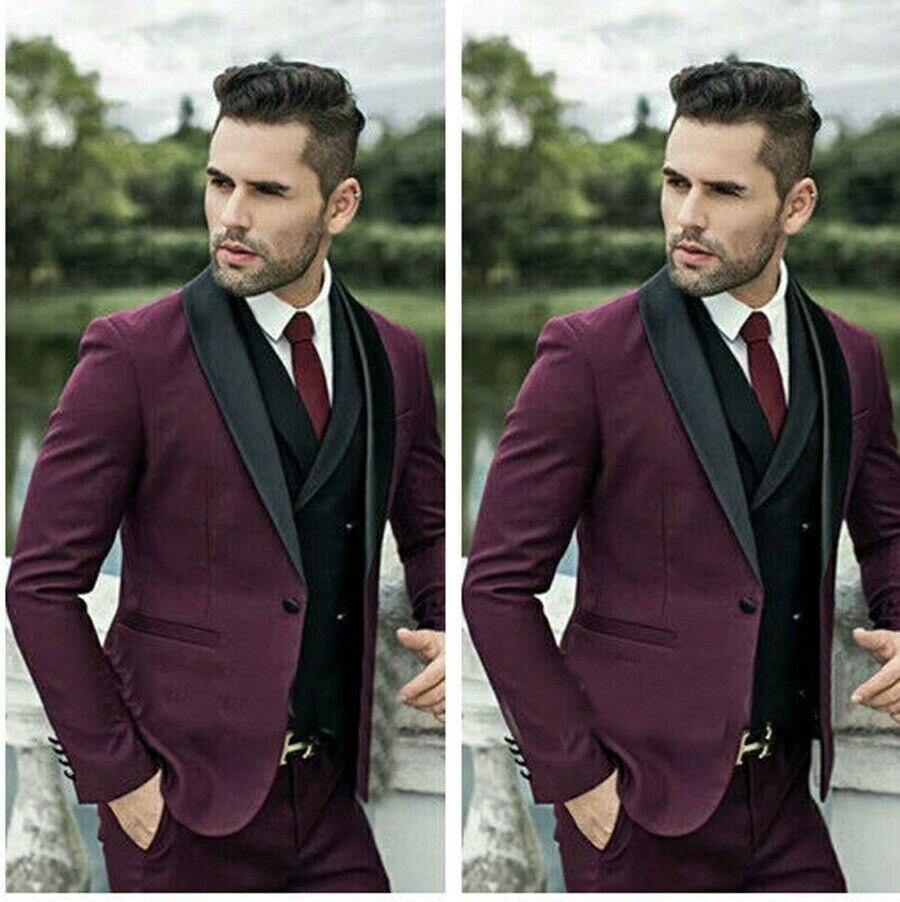 3 pièces hommes vin rouge costume Slim Fit Groomsman mariage/bal costume marié Tuxedos costume hommes costumes travail vêtements hommes