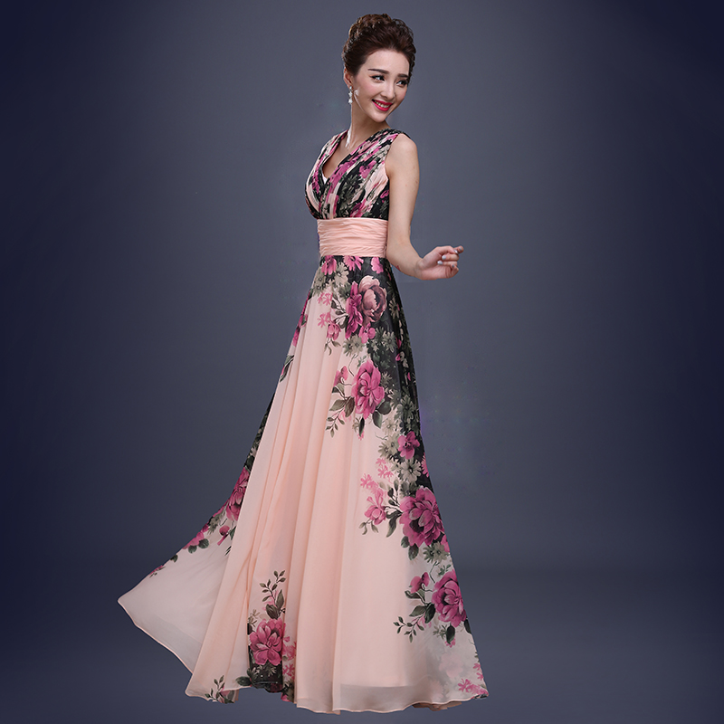 Fleur motif Floral imprimé en mousseline de soie robe de bal robe de soirée longue robes de soirée 2019 - 2