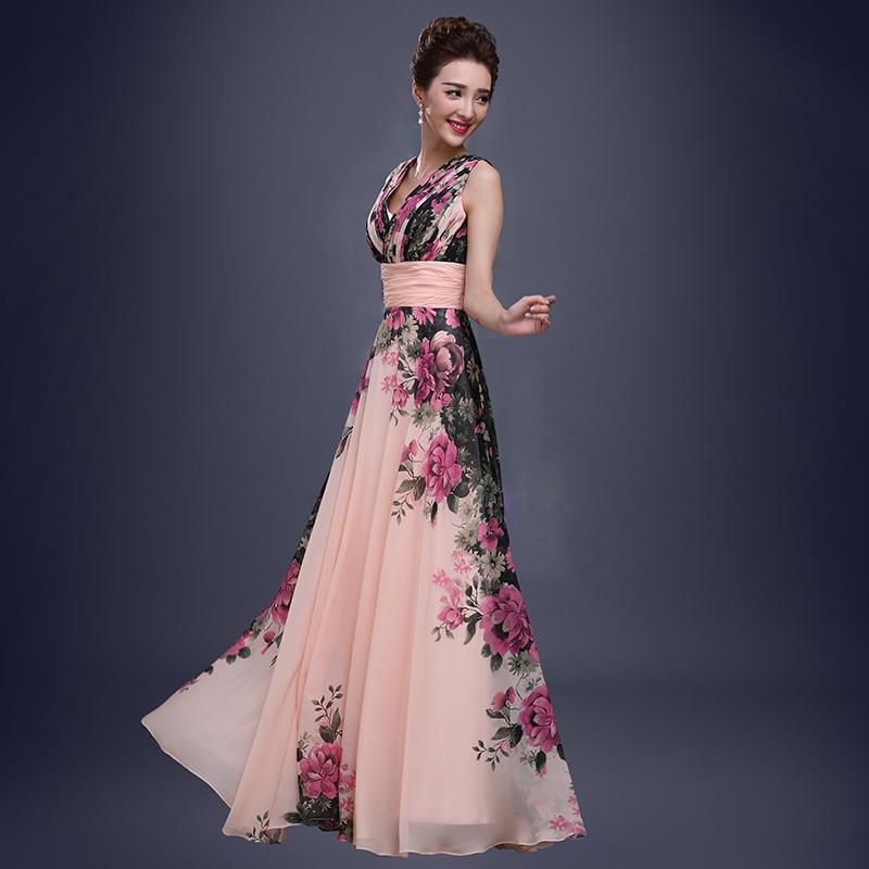Cvjetni uzorak cvjetni print šifon haljina Prom haljina duga - Haljina za posebne prigode - Foto 2