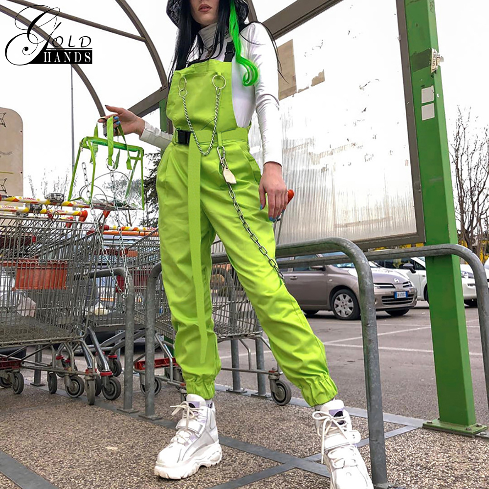 Gold Hands New Hot Womens Overalls   Pants   Chain Pocket Streetwear Neon Green Cotton   Pants     Capri   High Waist Trousers Free Shipping