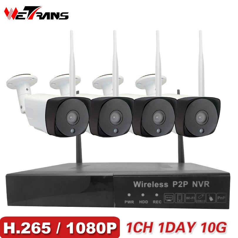 Wetrans Système de Caméra de Sécurité Sans Fil 1080 p H.265 Accueil CCTV Wifi NVR Kit 4CH Vidéo Surveillance Extérieure HD IP Caméra ensemble P2P