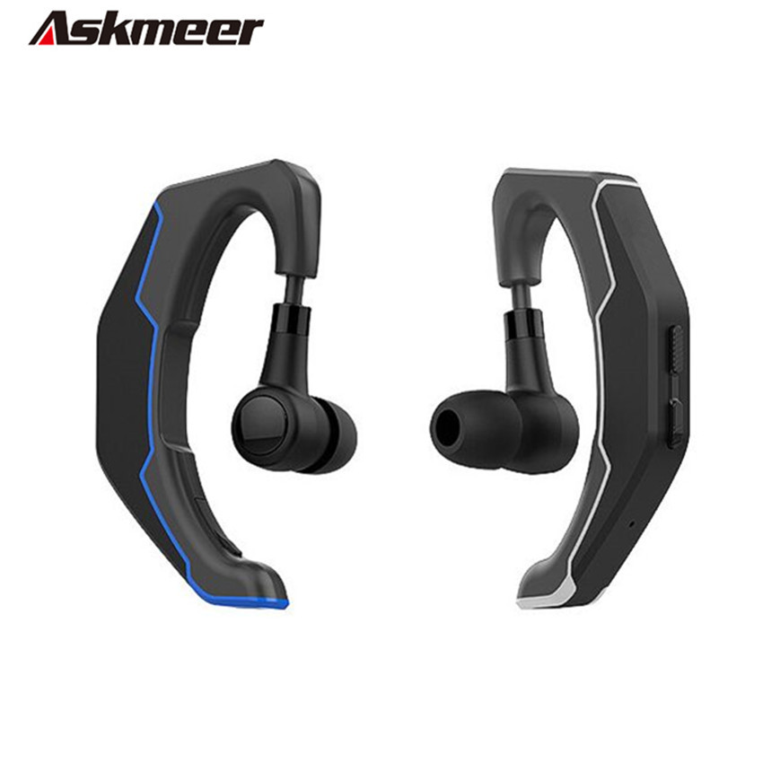 Askmeer Q3 Hands free Bluetooth Headset Ear Hook Wireless Business Headphone Driver Handsfree Earphone with Mic For Mobile Phone