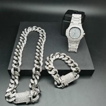 Luxury Men Crystal Miami Neckalce Chain Ice Out Cuban Men Watch& Necklace& amp Bracelet Crystal Miami Hip Hop For Men