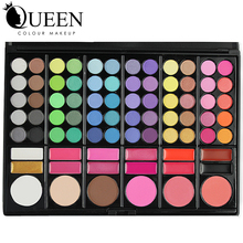 QUEEN 78 Colors Makeup Kit including Eyeshadow Contour Concealing and Lip Gloss Brush Portable Pressed Plastic Makeup Palette