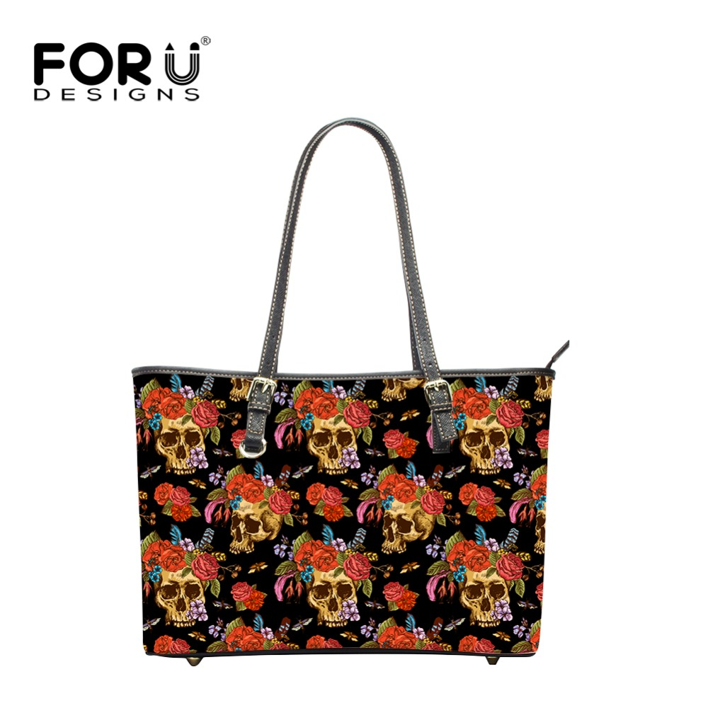 FORUDESIGNS Fashion New Arrivals Shoulder Bags Cool Skull Prints Large Women Leather Handbags,High Capacity Handbags for Moms